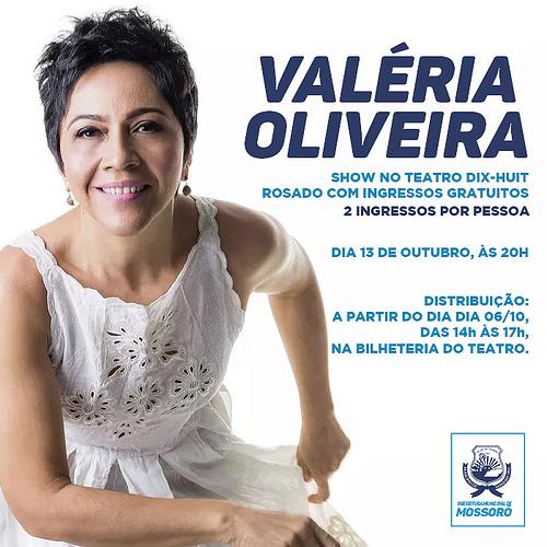Valéria Oliveira fará show no Teatro Dix-huit Rosado com ingressos gratuitos