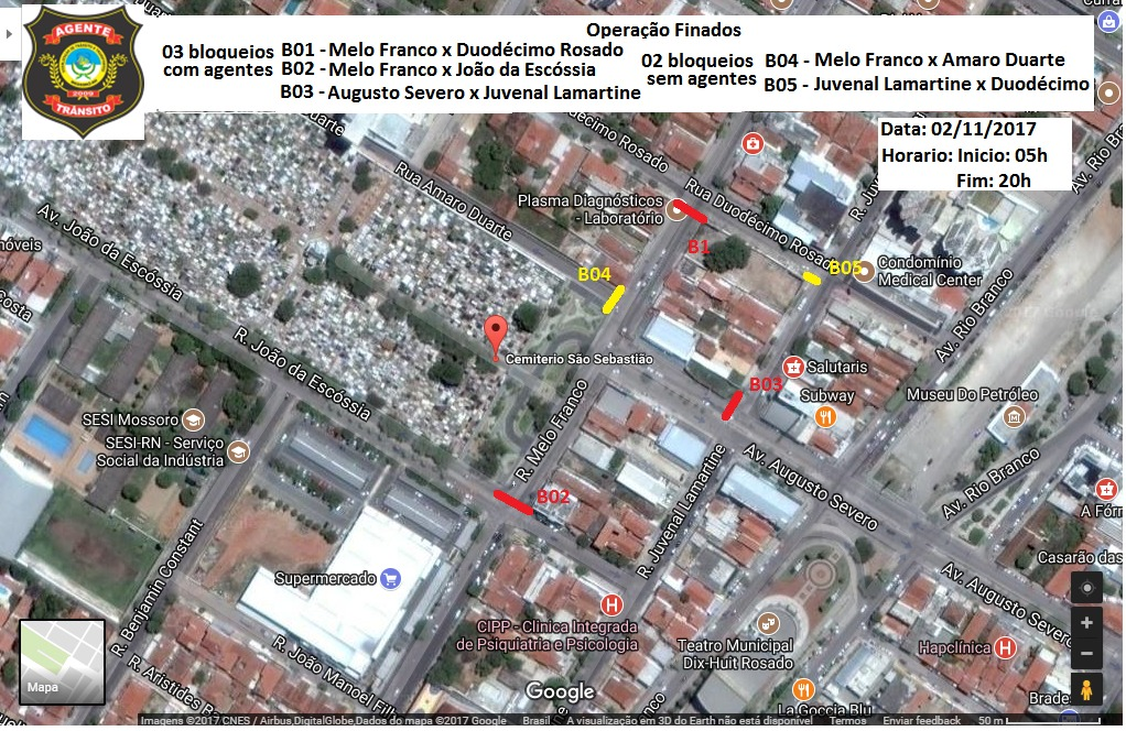 Secretaria de Trânsito fará bloqueio de ruas a partir de hoje em razão do Dia de Finados