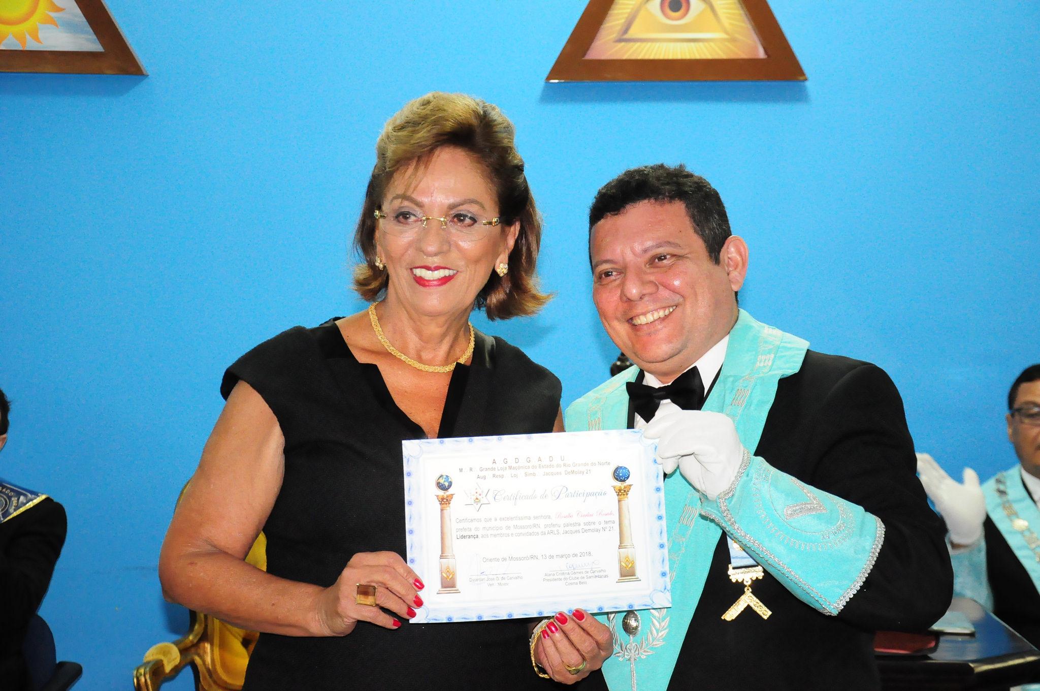Prefeita Rosalba Ciarlini é palestrante em Sessão Magna Branca da Maçonaria Jacques Demolay